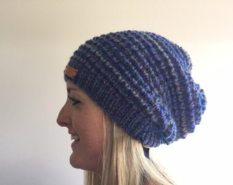blue variegated alpaca and wool slouchy beanie