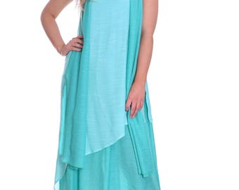 Light Cool Summer Maxi Dress With Scarf Double Layer Lagenlook Turquoise