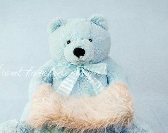 Newborn Boy Digital Backdrop  - Big Blue Bear Teddy