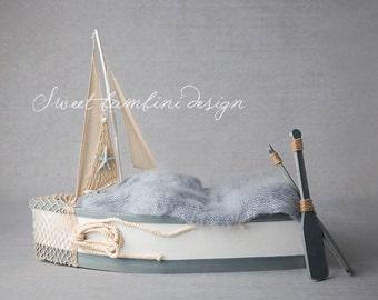 Boy Digital background - little blue boat with oars