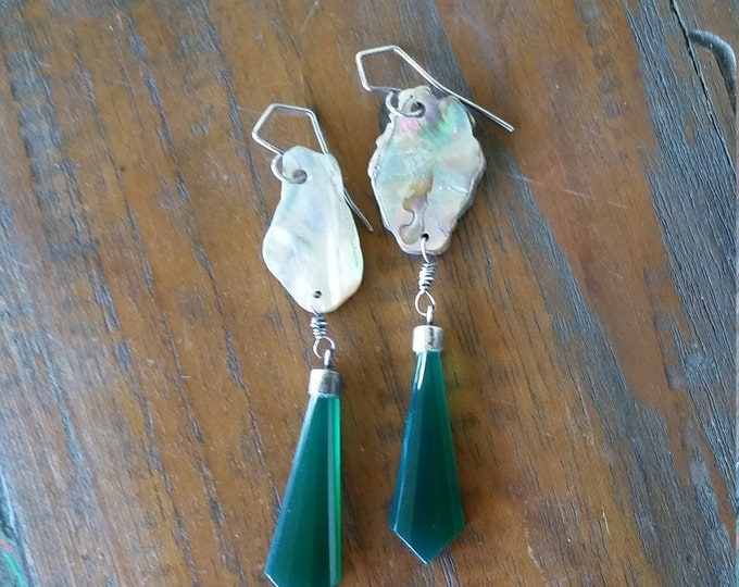 Abalone Shell with Vintage Green Glass