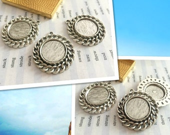 wholesale 50 Pieces /Lot Antique Silver Plated 16mm cabochon bezel trays charms
