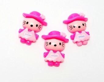 2pcs- 24mm cartoon Hello Kitty resin flatback cabochons adorable pink kitty pink dress & hat decoden jewelry embellishment scrapbooking