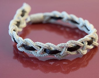 Silver jewelry, Silver Bracelet, Sterling Silver Bracelet, Woven from pure silver threads, For her, For him