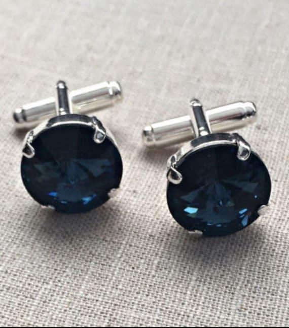 Sapphire blue masculine Montana blue Swarovski® Crystal Silver Cuff Links.
