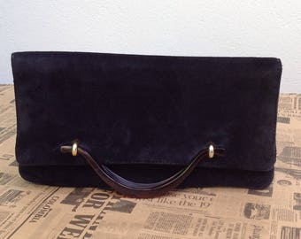 80s Vintage Boho suede clutch bag/Pouch///Suede Pouch//original and rare Pouch//Made in Italy boho
