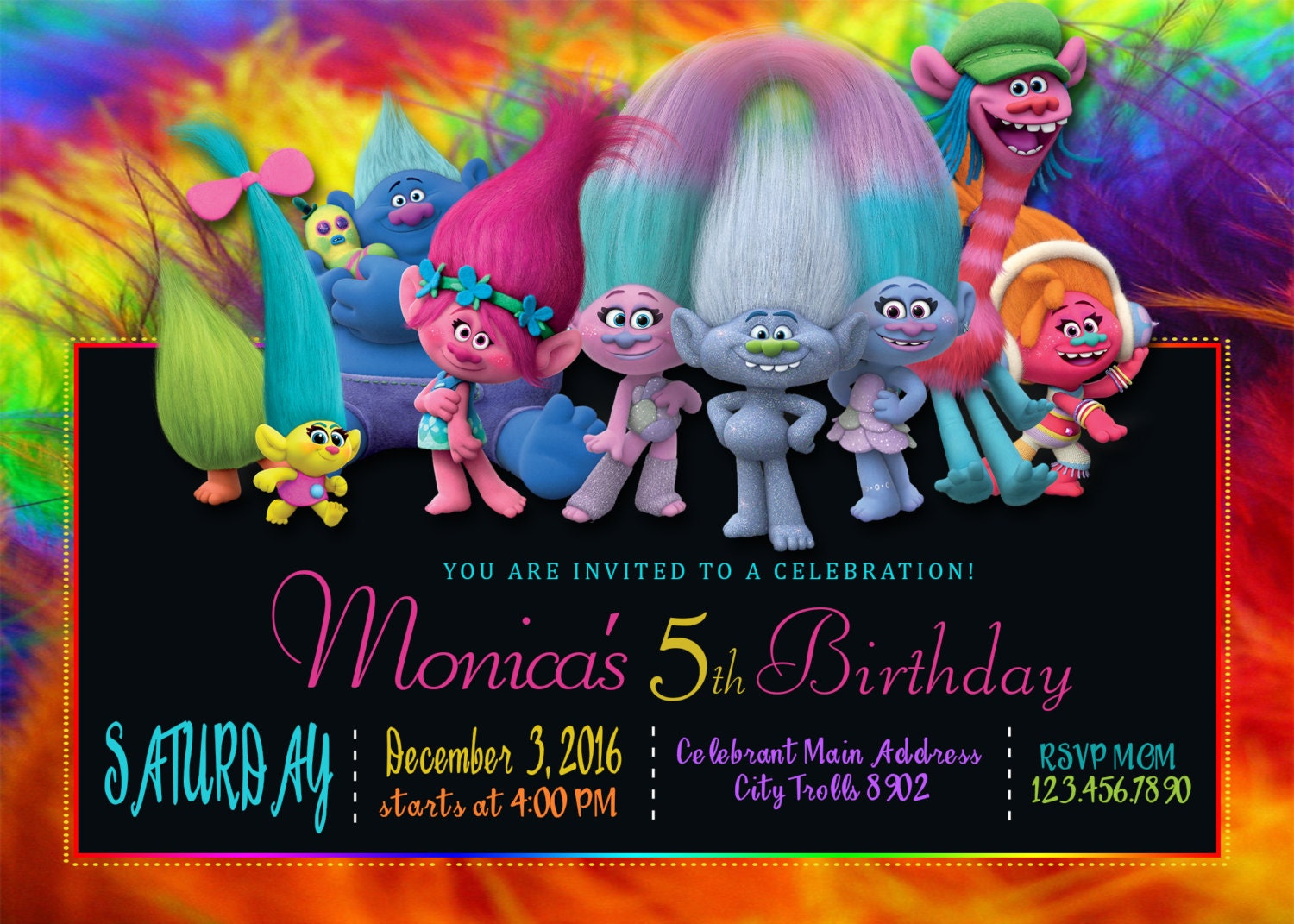 Priceless image within trolls birthday invitations printable