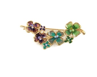 1960s Monet floral brooch, four leaf clover brooch, flower cluster brooch, spring jewelry, gift for her, enamel brooch, gold brooch