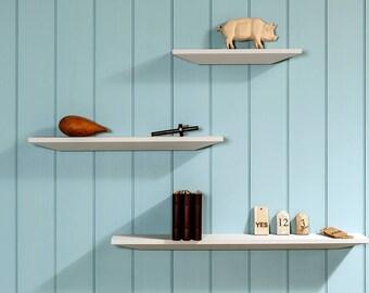 floating shelves/shelf with angular design. / Shelves /Bespoke wall Shelving System / Easy Fix Shelf.