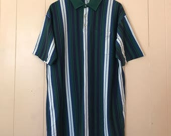 Vintage Men's 90s Clothing Green Striped Polo Golf Short Sleeve Casual Shirt Size XL