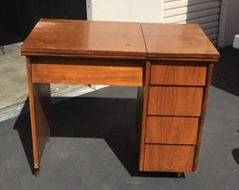 Mid Century Desk, Mid Century Sewing Desk, Vintage Wood Desk, Local Pick Up