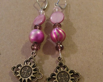 Lever Back Crosses with Pink Swirly Bead