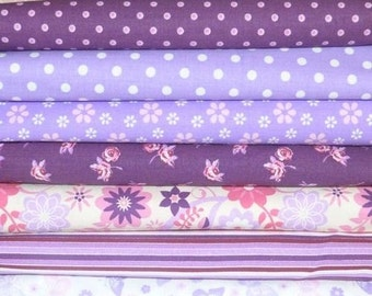7 coupons fabric patchwork 30 X 50 cm purple VIOLET 0715 sewing cotton