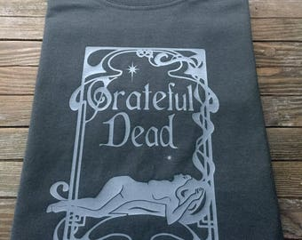 Lady's Grateful Dead T Shirt Graphic Art Nouveau Design Jerry Garcia