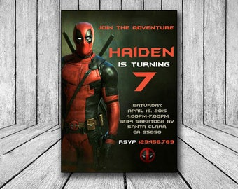 Deadpool invitation, Deadpool birthday invitation, Deadpool invite, Deadpool invitation, Deadpool digital, Deadpool birthday party theme