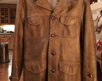 SKM Made In Seattle Vintage Brown Tan Leather Button Up Jacket Men's Size Large