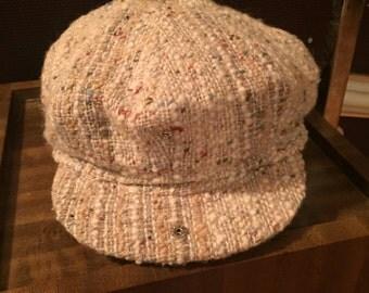 Vintage Tan Studio Donagal Irish Wool Motering Messenger Cap Hat