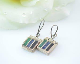 Malachite, Lapis Lazuli & Onyx Hook Back Earrings Sterling Silver 8.3g