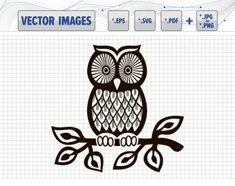 Owl on the branch vector graphic svg, dxf, eps, pdf and png for instant download