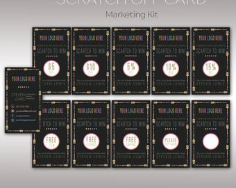 Scratch Off Card, Boho Marketing Kit, Fast Free Personalization, Digital File, Template for Retailer, Business Card K25G02