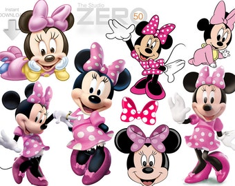 50 Minnie Mouse Digital Clipart of 300DPI PNG Images for Instant Download