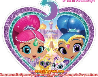 INSTANT DOWNLOAD - Shimmer and Shine Age 5 Party decor, Shimmer and Shine Table Topper, Shimmer and Shine Centerpiece - SHIMMERSHINE2