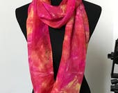 "Infinity Silk Scarf (Narrow) 11x76"" called Passion Fire"