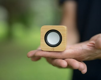 Bamboo Portable Speaker | UA Fine Living | acousdea | Free US Shipping | 2 Inch Cube | Bluetooth | Wireless | Rechargeable | 7 Hour Battery