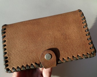 Vintage Leather Wallet, Genuine Leather Wallet, Brown Leather Wallet, Billfold, Leather Purse, Hand Made Leather Wallet, Retro style 70s