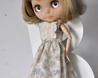 Sale 50%!!!Dress for Blythe doll,  beige cotton dress, clothes for doll, outfit, set