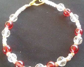 Red and White Beaded Bracelet, Handmade