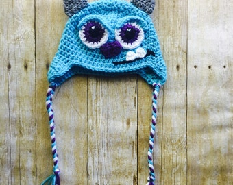 Monsters Inc., Sully Crochet hat, Baby Hat, Phot prop, Halloween, made to order