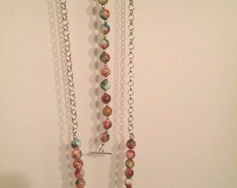 Round Multi Colored Beaded Necklace and Bracelet