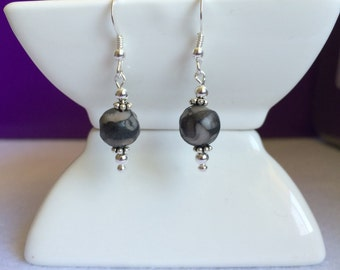Earthy Grey and Black Fossil Agate Gemstone and Sterling Silver Drop Earrings.