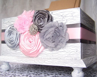 Baby Shower Card Box / Pink and Grey Card Box / White Card Box /  Light Pink and Gray Baby Shower / Baby Girl / Card Box for Baby Shower /