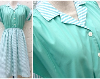 Retro dress, vintage turquoise striped fashion, women's 80's clothing