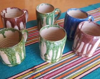 Six  Mexican Vintage Drip Glaze Cups