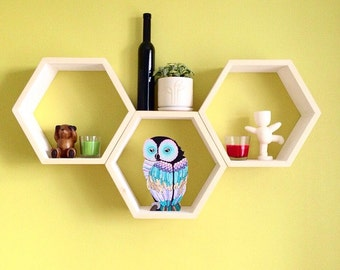 "ALL SIZES Wooden hexagone wall shelf,honeycomb shelf,wooden honeycomb,wooden honeycombs,hotel shelves,Nursery  shelf 10"" 12"" 14"" 16"" 18"""