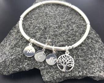 Family Tree Bracelet/Personalized Bangle Bracelet/Tree of Life Bangle/Tree of Life Bracelet/Personalised Jewellery/Initial Jewelry/Silver