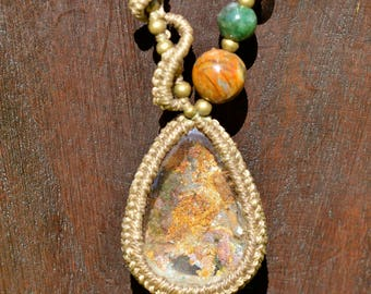 Garden Quartz (Lodolite)  macrame necklace