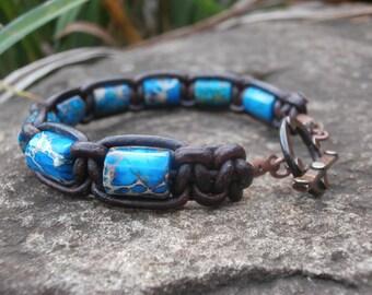 IMPRESSION JASPER Bracelet, Brown Leather Bracelet, Macrame Style Bracelet, Boho Jewelry