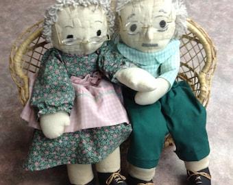 Grandma Doll/ Grandpa Doll/Aging Ragedy Ann & Andy Dolls/Novelty Dolls/Retirement Gift/Stuffed Dolls/Gag Dolls/Cuddling Seniors