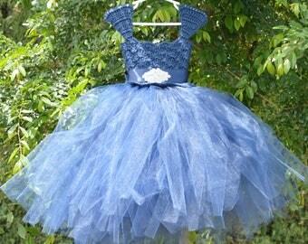 Navy Flower Girl Dress Crochet Tutu Dress Baptism Christening Blessing Wedding Bridal Party Birthday Dress Pageant Dress