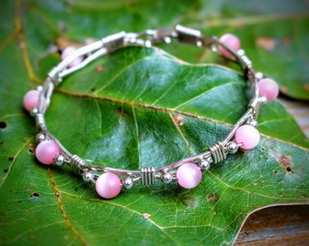 Sterling Silver, Handcrafted Bracelet with Lt Pink Cateye Beads 6mm
