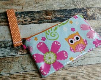 Clutch Wristlet Phone Case Laminated Cotton Fabric Owl Water Resistant Dirt Repellent Beach Pool Summer Zippered Handbag