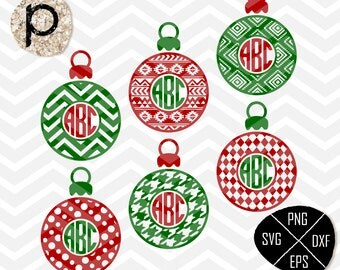 Christmas Ornaments svg*Christmas Frame SVG Cut files*Christmas Ball Monogram Frame SVG*clipart,eps,dxf,png*Cutting Files*Cricut*Silhouette