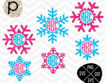 Winter Snowflakes Monogram Frame*Snow Monogram Frame SVG*Christmas Cut File*Christmas svg*clipart,eps,dxf,png*Cutting File*Cricut*Silhouette