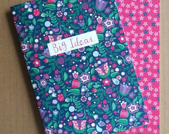 Folky Florals/Ditsy Florals A6 Notebook Pack (Pack of 2)