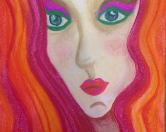 Abstract Portrait of woman lady redhead in pastel on paper