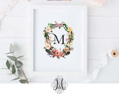 Instant Download Watercolor Crest with Floral Wreath Letter M Printable Wall Art Baby Initial Art Floral Alphabet Art Wedding Monogram Logo